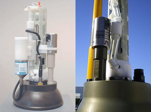 Top caps of profiling floats featuring oxygen sensors provided by Sea Bird (left) and Aanderaa (right).