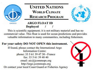 Argo float label as attached to each Argo float