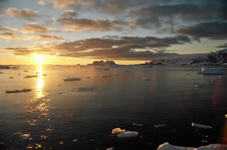 Sunset at Rothera in the Antarctic